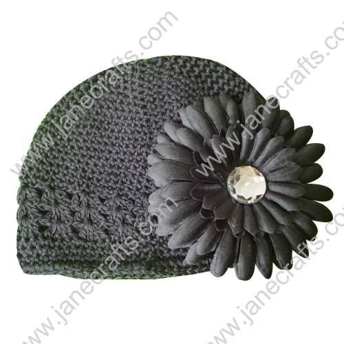 Wholesale 10pcs Handmade Crochet Baby Children Kufi Hat Black With Daisy Flower Clip for 0-2