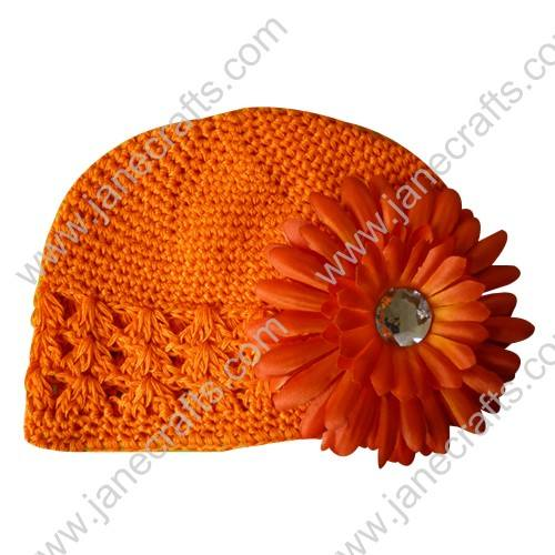 Wholesale 10pcs Handmade Crochet Baby Children Kufi Hat Orange With Daisy Flower Clip for 0-2