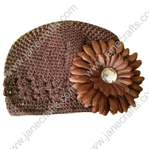Wholesale 10pcs Handmade Crochet Baby Children Kufi Hat Brown With Daisy Flower Clip for 0-2