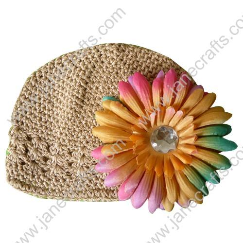 Wholesale 10pcs Handmade Crochet Baby Children Kufi Hat Pecan Brown With Daisy Flower Clip for 0-2