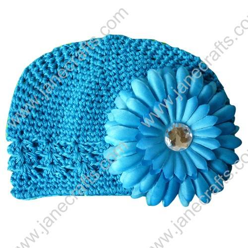 Wholesale 10pcs Handmade Crochet Baby Children Kufi Hat Turquoise With Daisy Flower Clip for 0-2