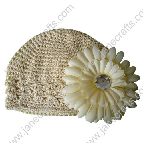 Wholesale 10pcs Handmade Crochet Baby Children Kufi Hat Carmandy With Daisy Flower Clip for 0-2