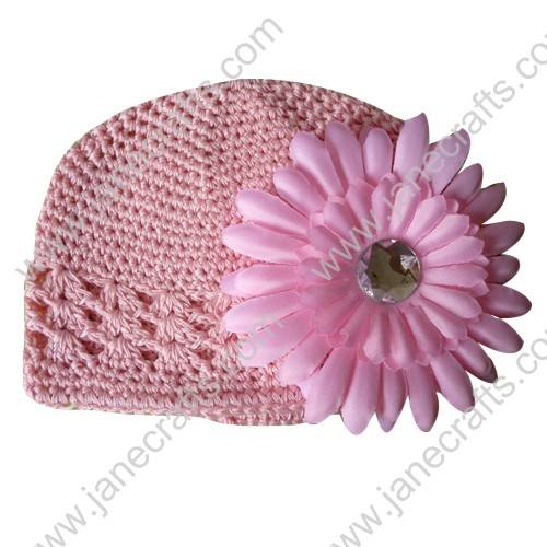 Wholesale 10pcs Handmade Crochet Baby Children Kufi Hat Pink With Daisy Flower Clip for 0-2
