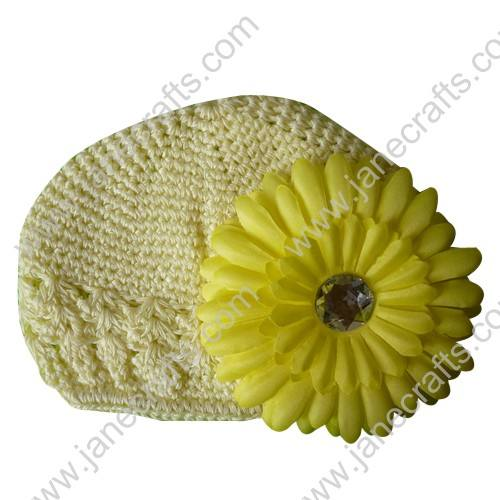 Wholesale 10pcs Handmade Crochet Baby Children Kufi Hat Ivory With Daisy Flower Clip for 0-2