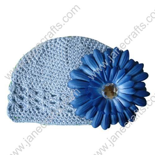 Wholesale 10pcs Handmade Crochet Baby Children Kufi Hat Antique Blue With Daisy Flower Clip for 0-2