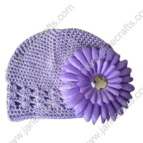 Wholesale 10pcs Handmade Crochet Baby Children Kufi Hat Lavender With Daisy Flower Clip for 0-2
