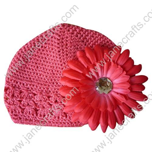 Wholesale 10pcs Handmade Crochet Baby Children Kufi Hat Hot Pink With Daisy Flower Clip for 0-2
