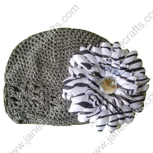 Wholesale 10pcs Handmade Crochet Baby Children Kufi Hat Metal Grey With Daisy Flower Clip for 0-2