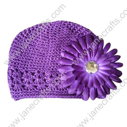 Wholesale 10pcs Handmade Crochet Baby Children Kufi Hat Purple With Daisy Flower Clip for 0-2
