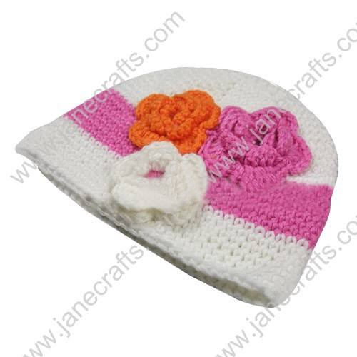 1pcs Crochet Flower Ear Flaps White with 3 Flowers Handmade Beanie Kufi Fit Newborn-2T