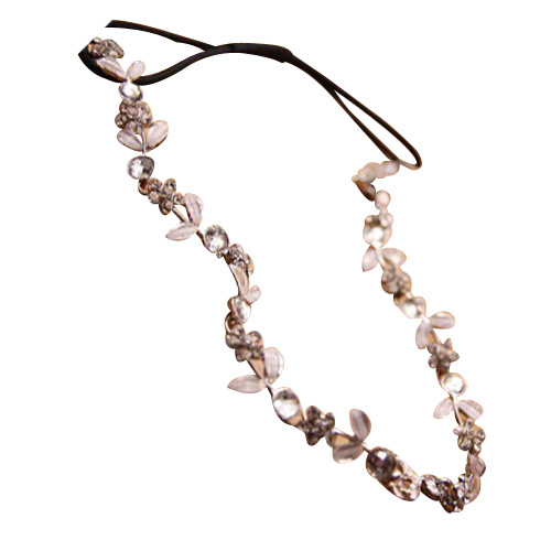 6pcs Women Fashion Silver Crystal Flower Elastic Hairband