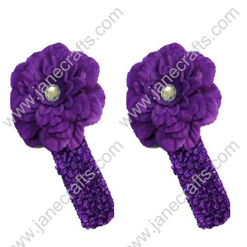 "4"" Crochet Peony Flower Headband in Purple-12PCS"