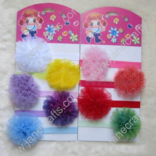 12pcs Skinny Hair Bands with Organza Flowers