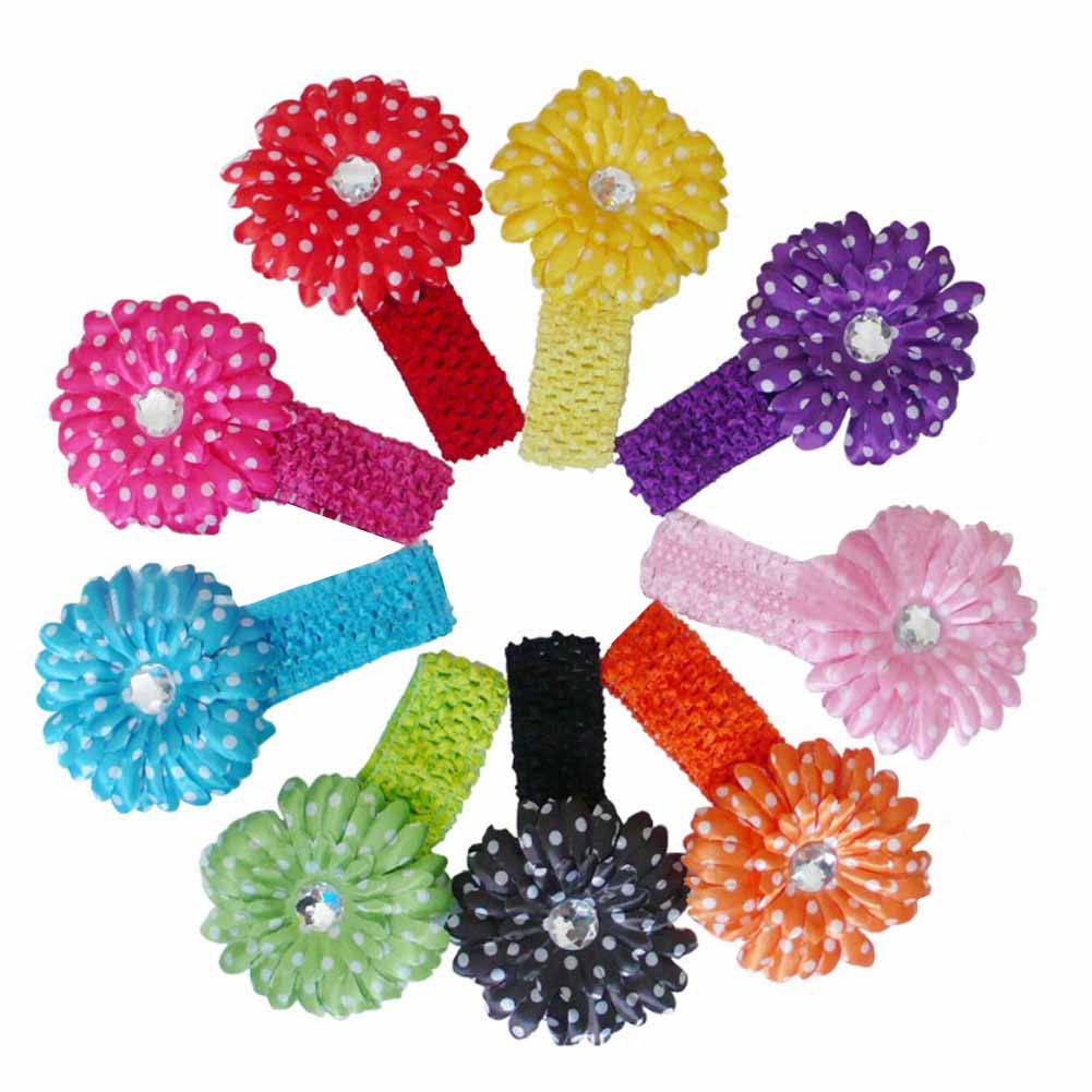 10pcs Daisy Flower with Dot + Baby Headbands 10 Colors