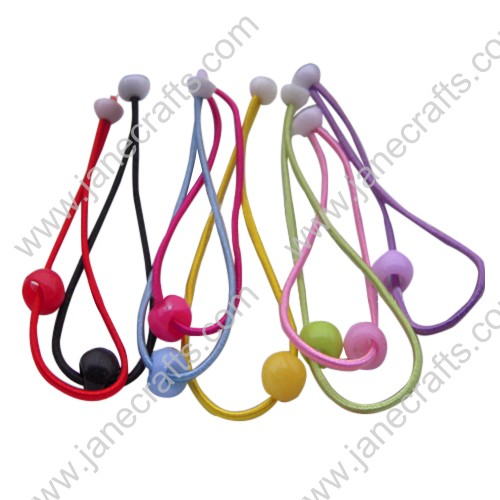 30PCS Skinny Elastic Headbands with Plastic Beads in Various Colors