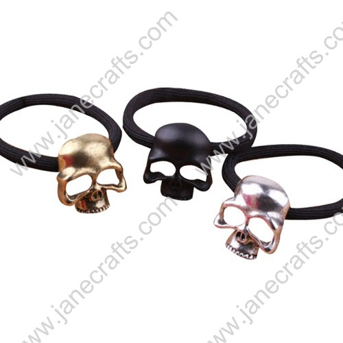 12pcs Punk Metallic Gold Silver Black Cut Out Skull Hair Tie Secure Hair