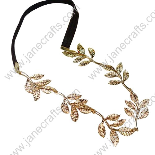 12pcs Metal Leaf Elastic Woman Hair Band Four Styles Mix Packed