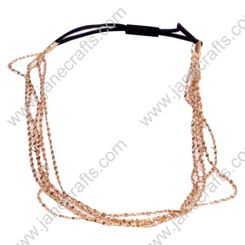 12pcs Woman Metal Chains Elastic Hair Band
