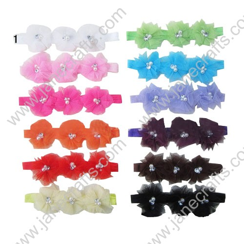 12pcs Baby Stretchable Headbands with Pearl Flower