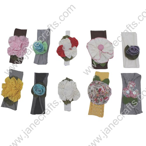 "12pcs 1 3/4"" Wide Fabric Fower Headbands Mixed Pack"