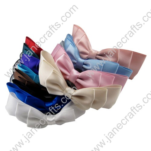 Wholesale 5 MM Satin Ribbon Hair Bow Metal Hairband-Assorted Color 120pcs