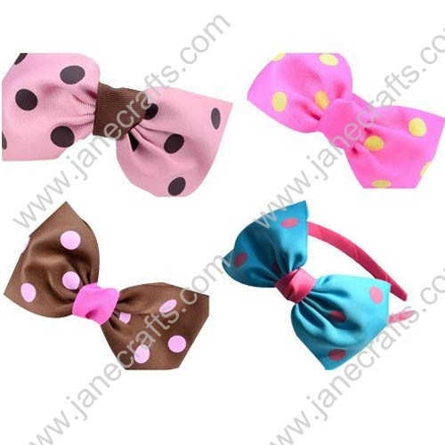 12PCS Ribbon Covered Plastic Headbands with Polka Dot Bowtie Bows