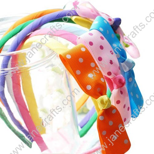 12PCS Ribbon Wrapped Plastic Headbands with Bowtie Bows