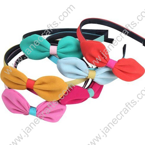 12PCS Covered Plastic Headbands with Solid Fabric Bowtie
