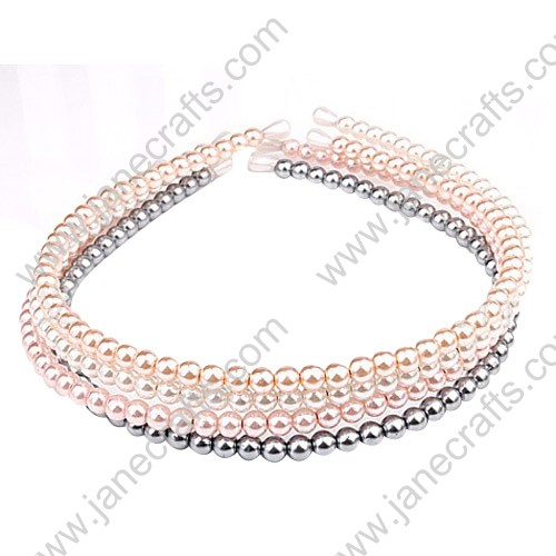 "4MM 1/4"" Small Cute Imitation Pearl Headband Wholesale Lots 12PCS Hairband-Assorted Color"