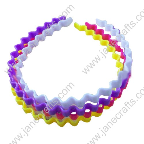 10MM 1/2  Candy Color Solid Wave Type Plastic Headband Wholesale Lot 12PC