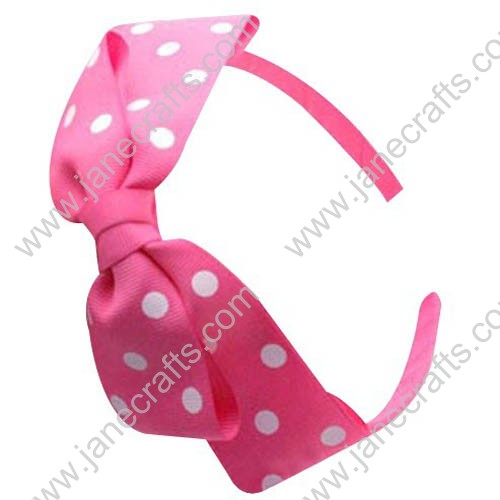 12pcs Plastic Headbands with Big Polka Dots Bows