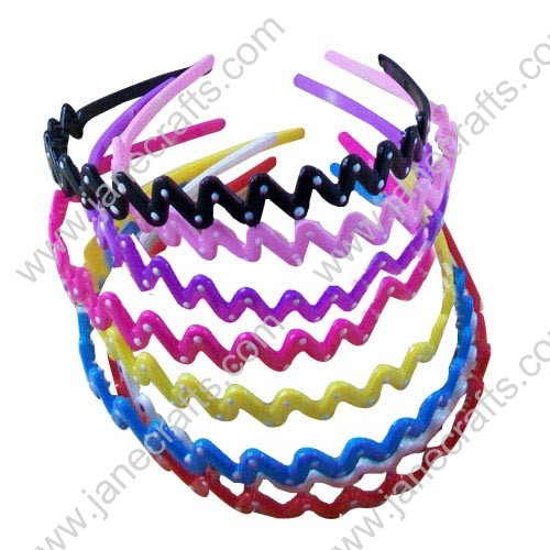 "16MM 5/8"" Candy Color Polka Dot Wave Type Plastic Headband w/Teeth Wholesale 12PC"