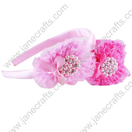 12pcs Pinks Plastic Headbands with Big Flower Beads