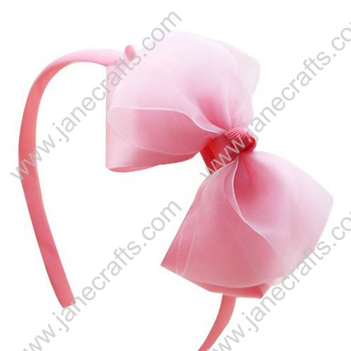 12PCS Ribbon Covered Plastic Headbands with Organza Grogsrain Pinwheel Bows