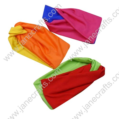 "12pcs 4 1/8"" Womens Colored Gathered Knot Pleated Wide Turban Cotton Hair Bands"