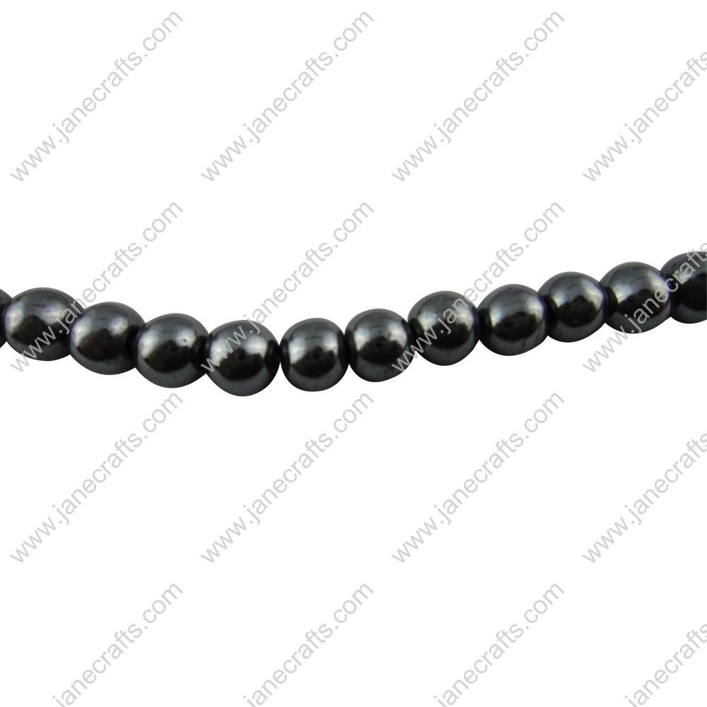 5 Strands 8mm Black Non-magnetic Hematite Round Loose Beads 16""