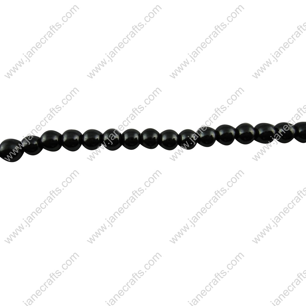 5 Strands 6mm Black Non-magnetic Hematite Round Loose Beads 16""