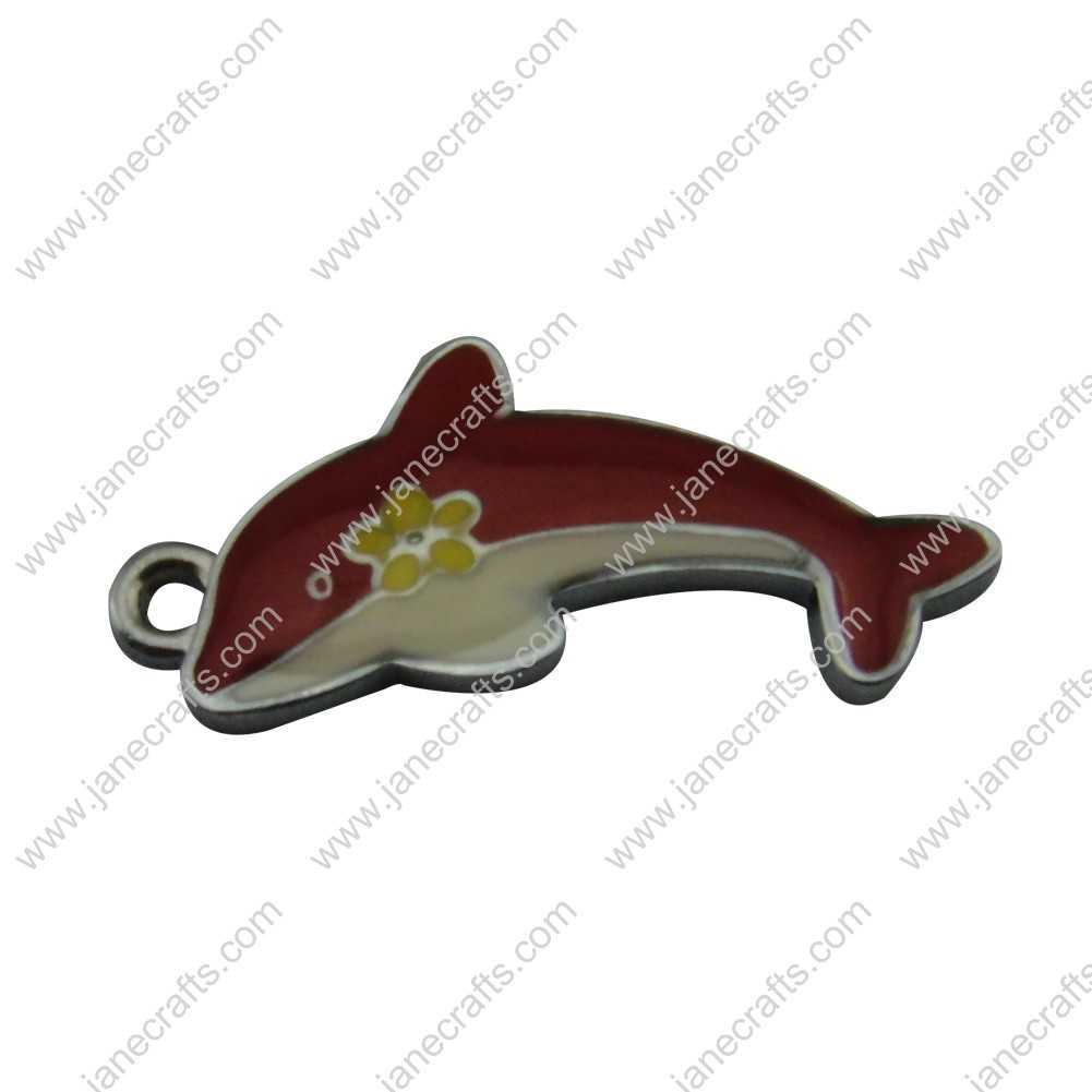 20pcs 36mm*17mm Silver Tone Enamel Red Dolphin Charm Pendants