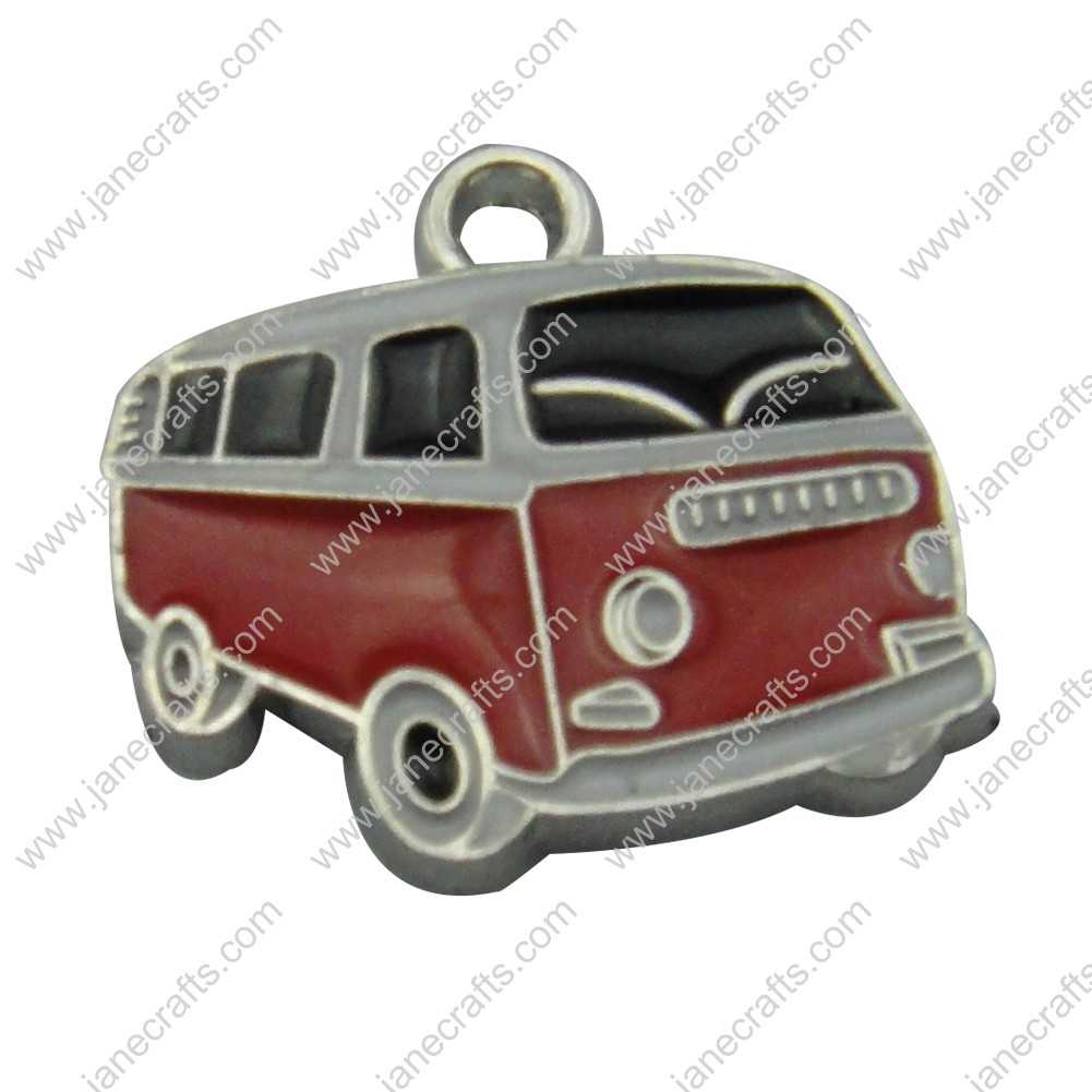 20pcs 20mm*18mm Silver Tone Enamel Black and Red Car Charm Pendants