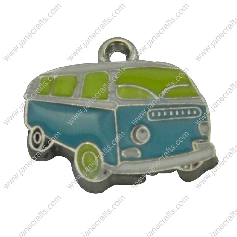 20pcs 20mm*19mm Silver Tone Enamel Blue and Green Car Charm Pendants