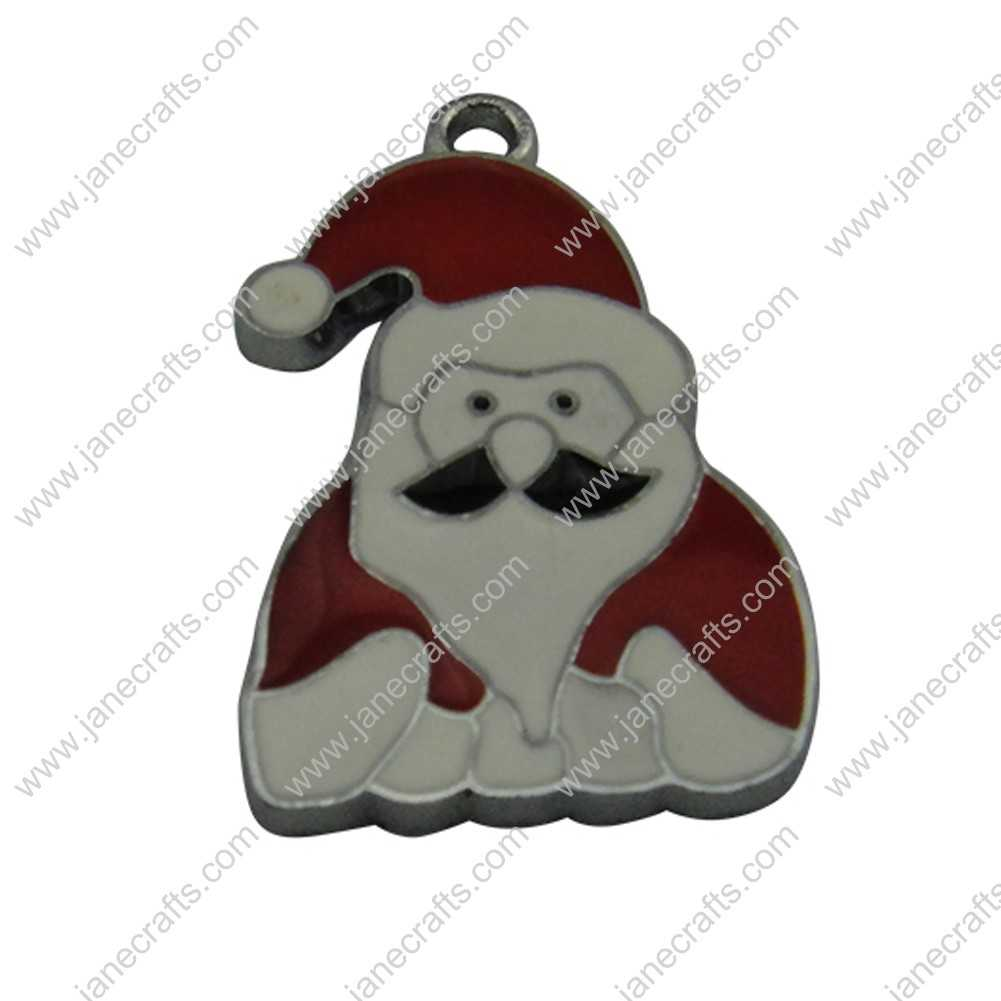 20pcs 31mm*20mm Silver Tone Enamel Red Father Christmas Charm Pendants