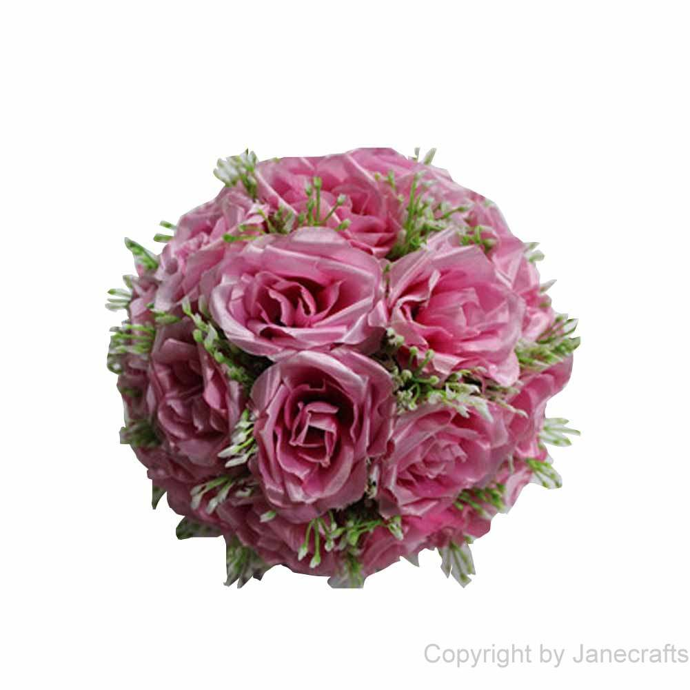 "1 pcs 15 3/4"" Pink Fabric Roses Flower Kissing Ball Pew Bows for Wedding Party"