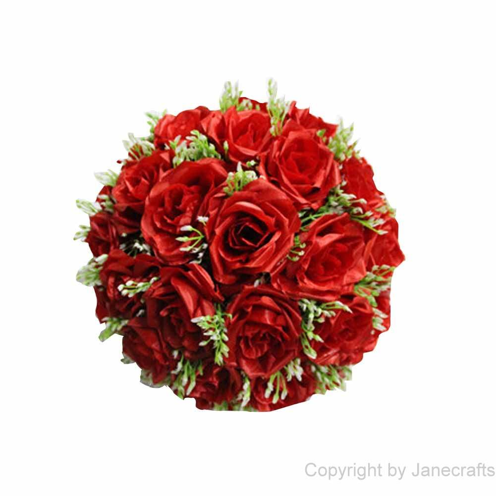 "1 pcs 15 3/4"" Red Fabric Roses Flower Kissing Ball Pew Bows for Wedding Party"