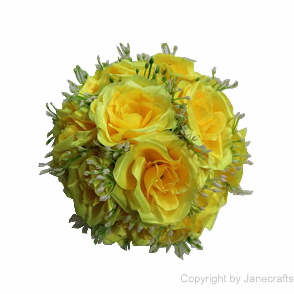 "1 pcs 15 3/4"" Yellow Fabric Roses Flower Kissing Ball Pew Bows for Wedding Party"