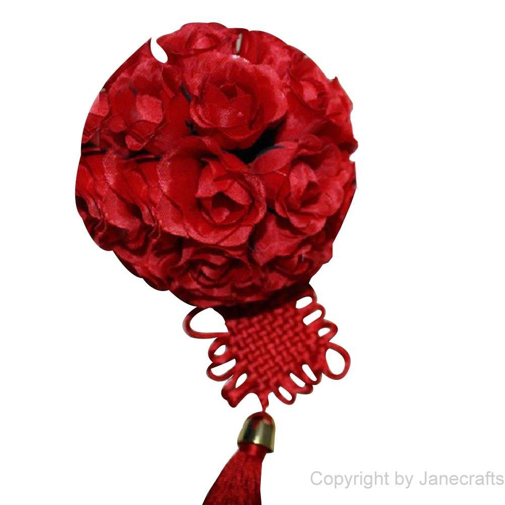 "1 pcs 6"" Red Fabric Roses Flower Kissing Ball Pew Bows for Wedding Party"