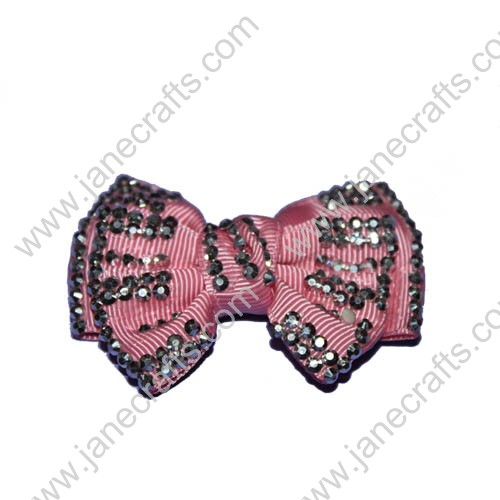 "2.5"" Pink Grosgrain Hair Bows with Rhinestone"