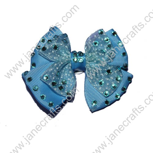 "3"" Double Layered Light Blue Hair Bows with Rhinestone"