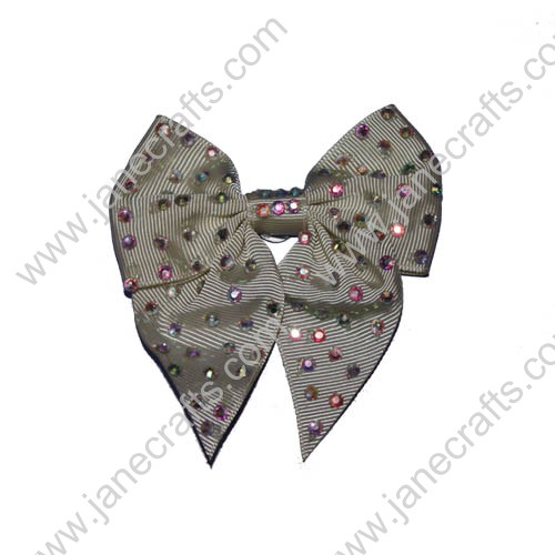 "3.5"" Champagne Cheer Bows with Rhinestone"
