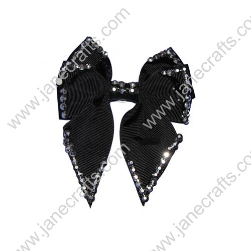 "3.5"" Black Cheer Bows with Rhinestone"