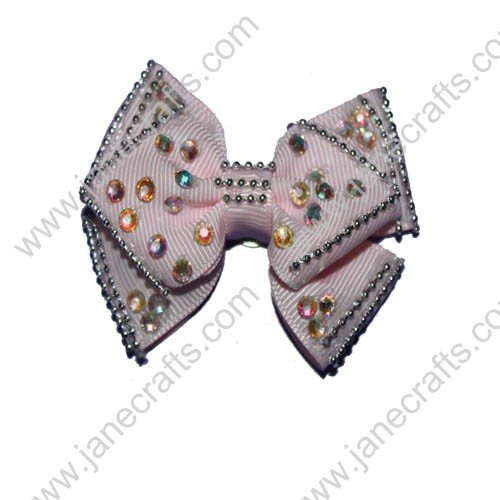 "2.5"" Light Pink Boutique Hair Bows with Rhinestone"